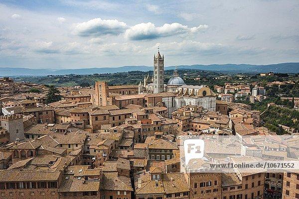 Ausblick über Altstadt mit Dom von Siena  Siena  Toskana  Italien  Europa