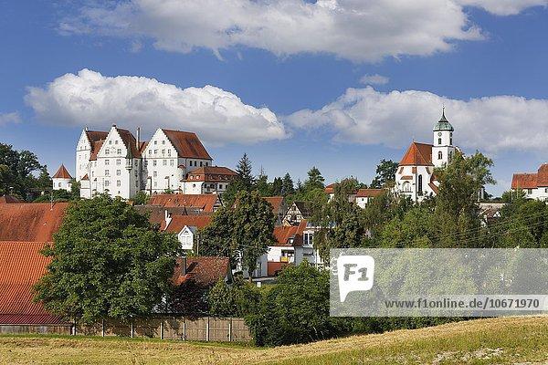 Schloss Scheer und Pfarrkirche St. Nikolaus  Scheer  Oberschwaben  Schwaben  Baden-Württemberg  Deutschland  Europa