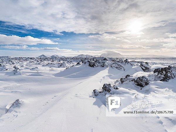 nahe Europa Winter See Lava Feld Schottische Highlands Myvatn Februar Island Nordeuropa