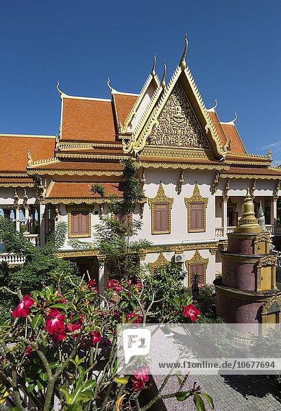 Tempel Wat Langka am Sihanouk Boulevard mit Stupa  Phnom Penh  Kambodscha  Asien