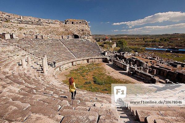 Europa Tourist Ruine Amphitheater Türkei antik Provinz Aydin
