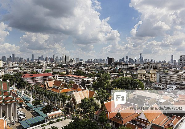 Panoramic view looking southeast from Golden Mount  skyline  Bangkok  Thailand  Asia