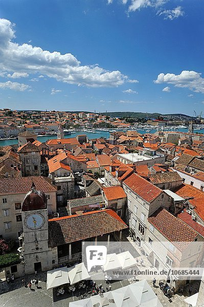 the old town viewed from the bell tower of Cathedral of St. Lawrence  Trogir  near Split  Croatia  Southeast Europe.