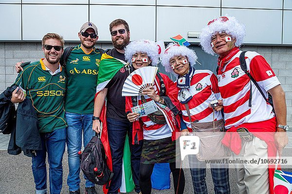 Südliches Afrika Südafrika Fußballweltmeisterschaft Teamwork Fotografie Spiel Gemeinschaft Ventilator Stadion Brighton japanisch Pose Rugby südafrikanisch