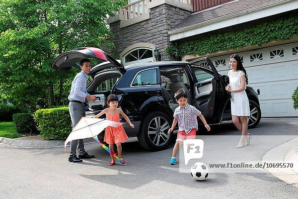 Happy family car travel