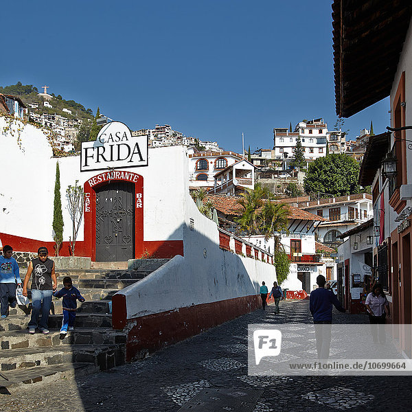 Typical street in Taxco the white city  Mexico