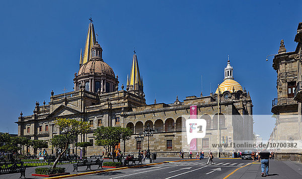 'America; Mexico; Jalisco state; Guadalajara city; Armas square and the cathedral'