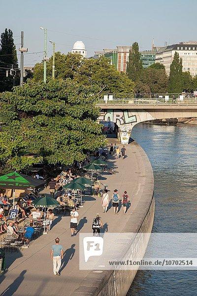 Wien Hauptstadt Mensch Entspannung Menschen Donau Österreich