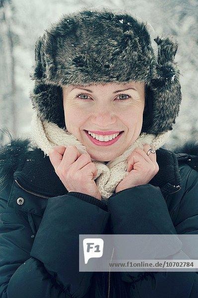 Smiling mid adult woman portrait  winter