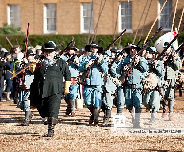 Members of the English Civil War Society march from Horse Guards Parade after a service to commemorate the execution of King Charles I.