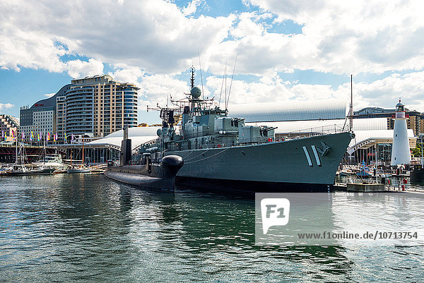Australia  Sydney  war ship in front of the Maritime Museum in Darlin Harbour