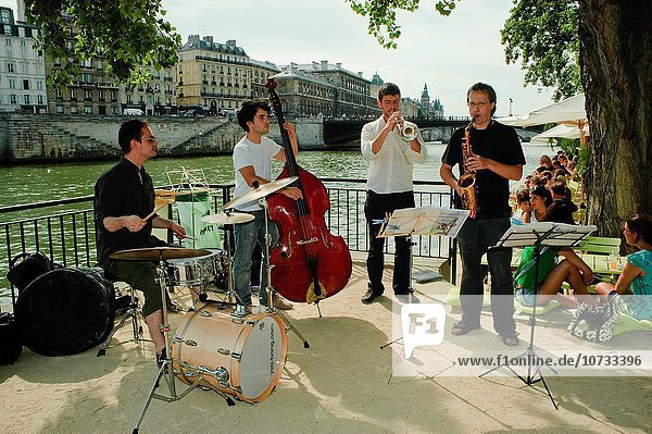 Paris  France  Jazz Band Performing on River Bank of Seine  at Paris Plage  Summer Event