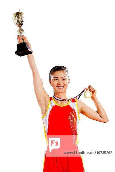 Frau Erfolg Athlet Medaille Pokal