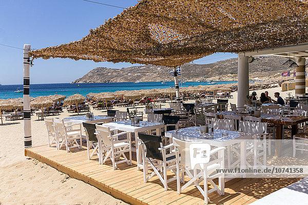 Greece  Cyclades Islands  Mykonos Island  Elia beach  restaurant