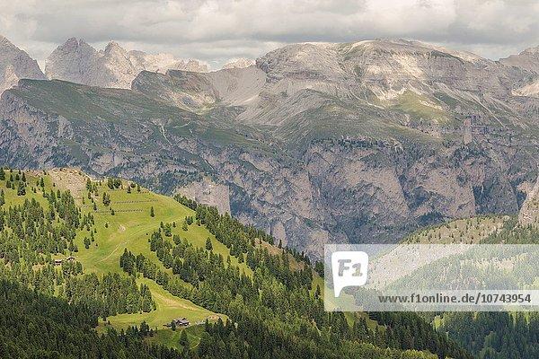 Sommer über Ansicht Dolomiten Italien Juli Monat Grödnertal