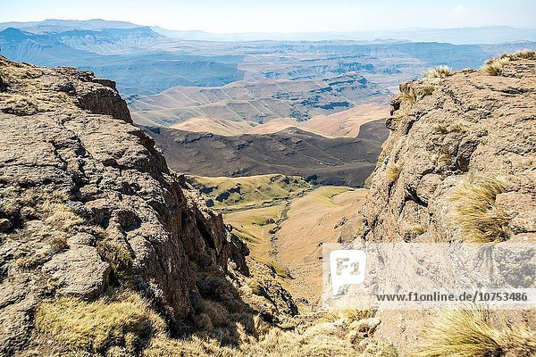 Landscape of rolling green hills and mountains in Lesotho  Africa.