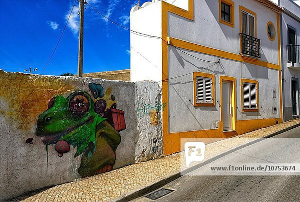 Städtisches Motiv Städtische Motive Straßenszene Europa Wohnhaus Humor Wandbild Altstadt Algarve Lagos schmal Portugal