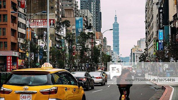 Taipeh Hauptstadt entfernt Straße Ansicht Business Ortsteil Taiwan