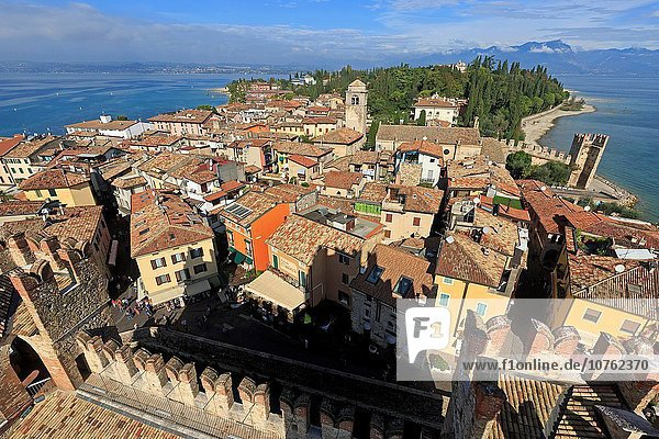 View from the old town  Sirmione  Lake Garda  province of Brescia  Lombardy  Italy