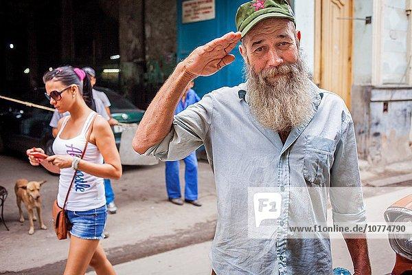 Mann Havanna Hauptstadt Kuba Ortsteil