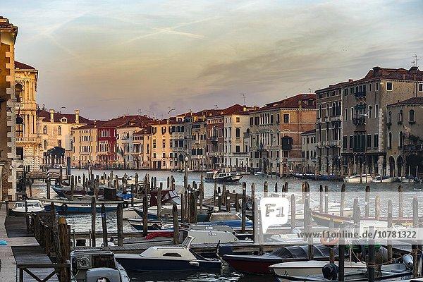 Grand Canal with boats  morning light  Venice  Veneto  Italy  Europe