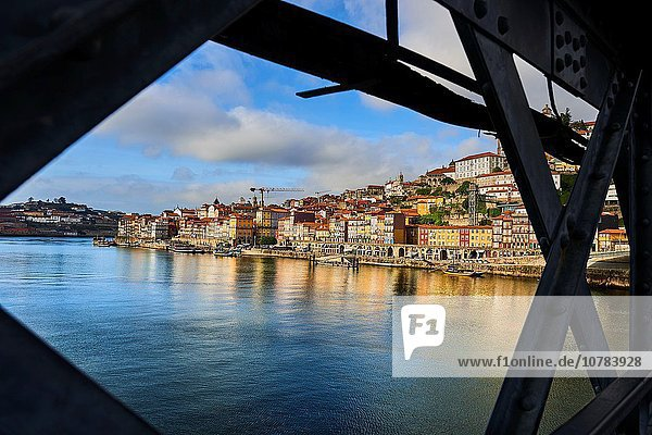 Old Town of Porto View from the Bridge Luis I  Oporto  Portugal  Europe.
