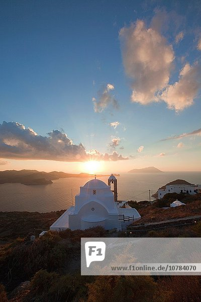 Domed church of Panagia Thalassitra overlooking the sea and the town Plaka at sunset  Milos  Cyclades Islands  Greek Islands  Greece  Europe.
