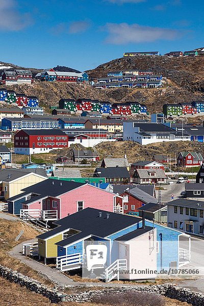 Greenland  Qaqortoq  elevated town view.