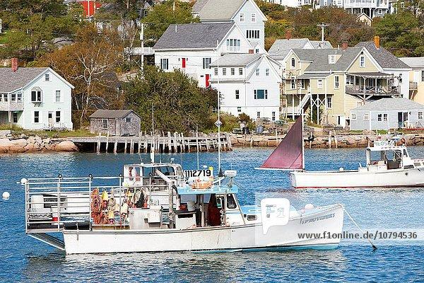 Fischereihafen Fischerhafen sitzend Boot Anker Hummer Maine