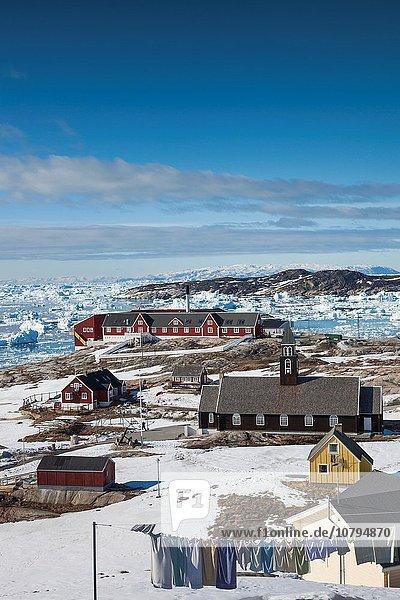 Stadt Kirche Ansicht Erhöhte Ansicht Aufsicht heben Diskobucht Disko-Bucht Grönland Ilulissat