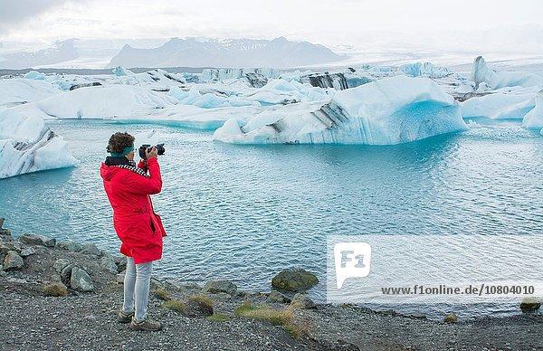 Nationalpark Ecke Ecken Modell See Gletscher Fotograf Süden Eisberg Vatnajökull Jökulsárlón Island Lagune