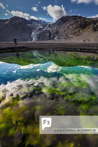 Landschaft klein Mütze folgen Aktion Vulkanausbruch Ausbruch Eruption Eis Vulkan Alge hoch oben Gletscher schmelzen entlassen Schmelzwasser Teich 20 Pause Island März