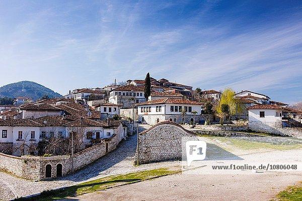 The citadel or Kala quarter inside the castle of Berat  Albania.