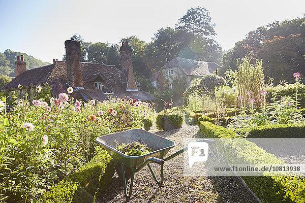 Schubkarre im sonnigen formalen Garten