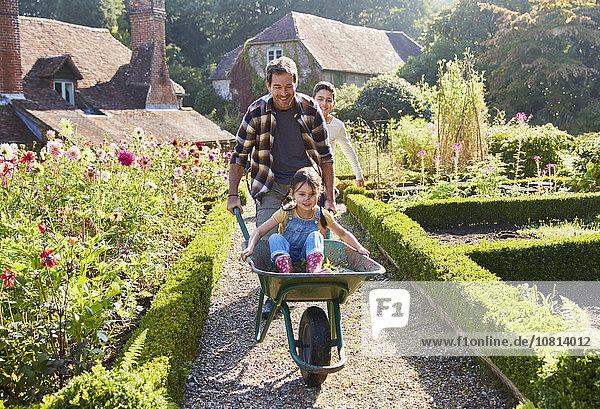 Vater schiebt Tochter in Schubkarre im sonnigen Garten
