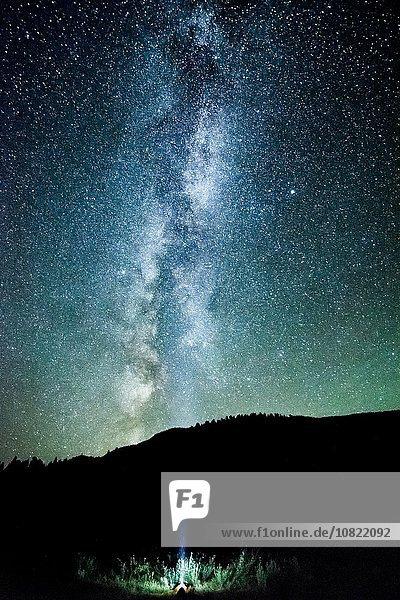 Mann blickt auf den Nachthimmel und die Milchstraße aus dem Bergwald  Penticton  British Columbia  Kanada Mann blickt auf den Nachthimmel und die Milchstraße aus dem Bergwald, Penticton, British Columbia, Kanada