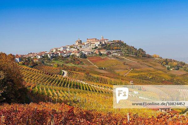 Blick auf Herbstweinberge und Hügeldorf  Langhe  Piemont  Italien