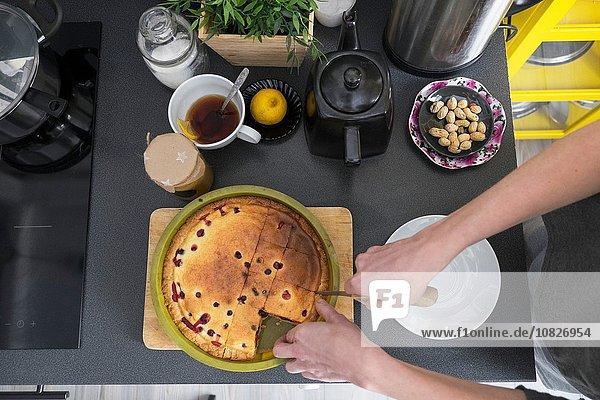 Draufsicht auf die weibliche Hand beim Schneiden von gebackenem Kuchen an der Küchentheke