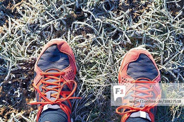 Overhead-Ansicht der Läuferfüße mit Laufschuhen auf frostigem Gras
