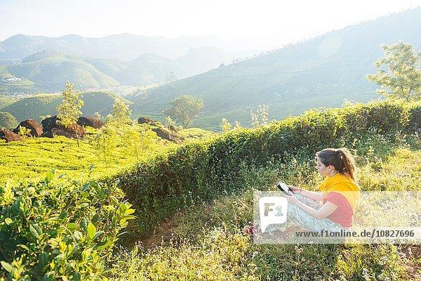 Junge Frau liest digitale Tabletten auf Teeplantagen bei Munnar  Kerala  Indien