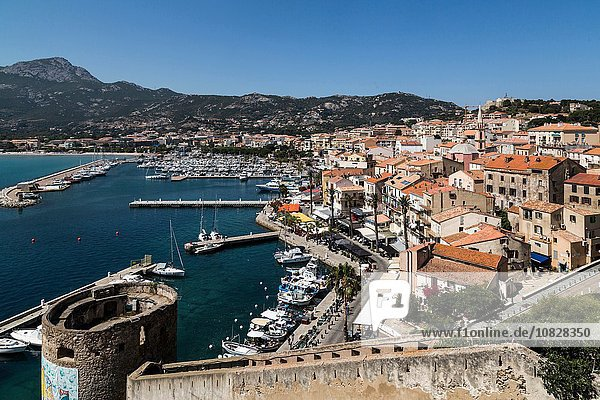 Elevated view of city walls and waterfront  Calvi  Corsica  France