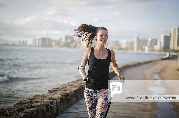 Städtisches Motiv Städtische Motive Straßenszene Ufer Athlet mischen joggen Amputiert Mixed