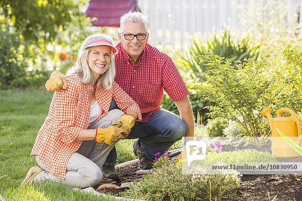 Caucasian couple gardening in backyard