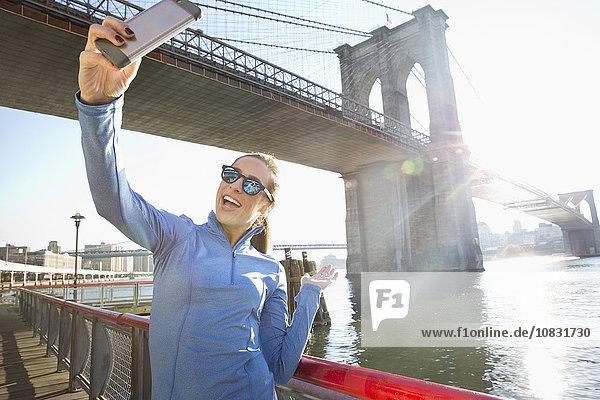 Europäer Frau Vereinigte Staaten von Amerika USA nehmen Ufer New York City