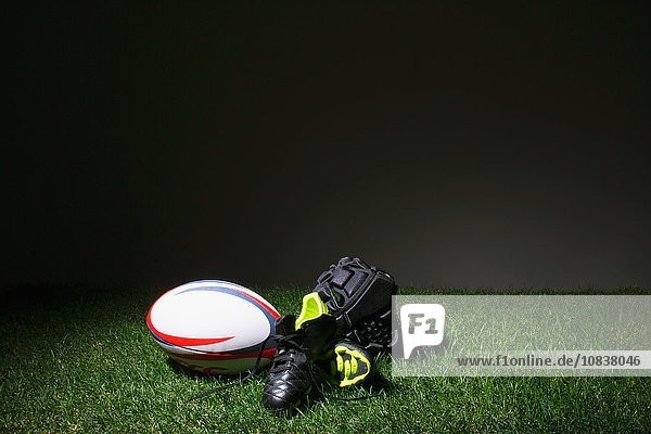 Rugby equipment on grass
