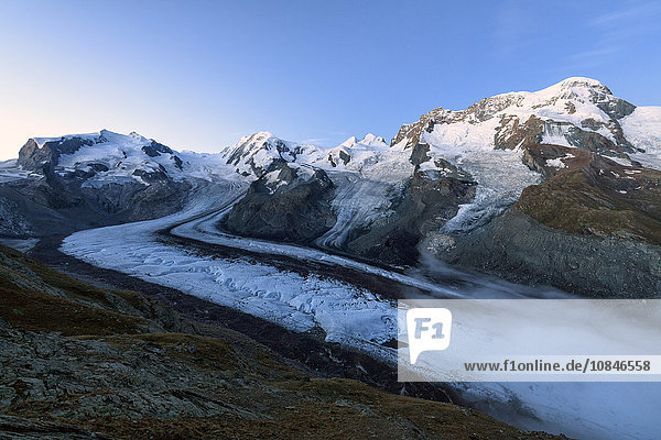 View of Mont Rosa Massif and its glacier at dusk  Zermatt  Canton of Valais  Pennine Alps  Swiss Alps  Switzerland  Europe