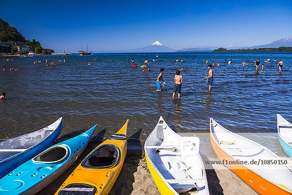 Puerto Varas Beach on Llanquihue Lake with Osorno Volcano behind  Puerto Varas  Chile Lake District  Chile  South America