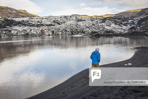 Exploring Solheimajokull Glacier  South Iceland (Sudurland)  Iceland  Polar Regions