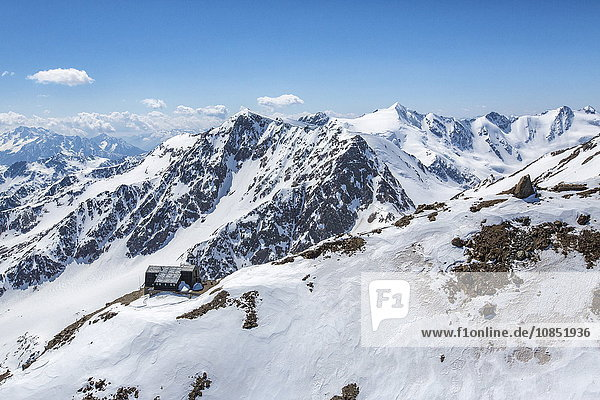 Aerial view of Forni Glacier and Refuge  Vioz  Valtellina  Lombardy  Italy  Europe