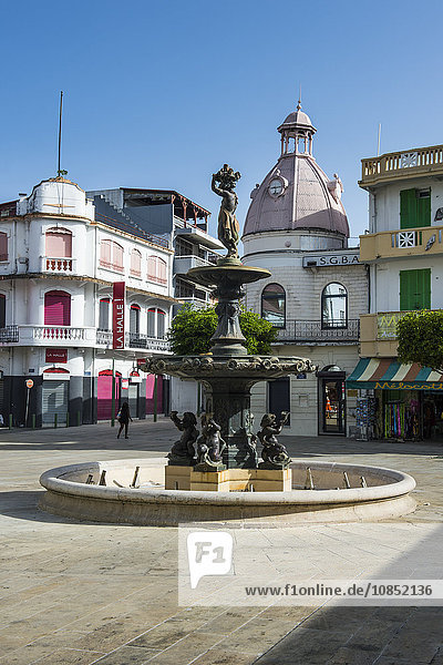 Fountain on the spice market  Pointe-a-Pitre  Guadeloupe  French Overseas Department  West Indies  Caribbean  Central America